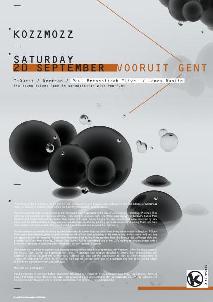 Kozzmozz - Sat 20-09-03, Kunstencentrum Vooruit
